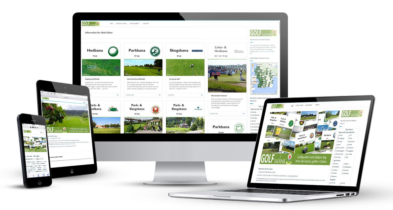 Golf i Skåne skärmbilder iPHONE, iPAD,Desktop och Laptop. golfiskane.se