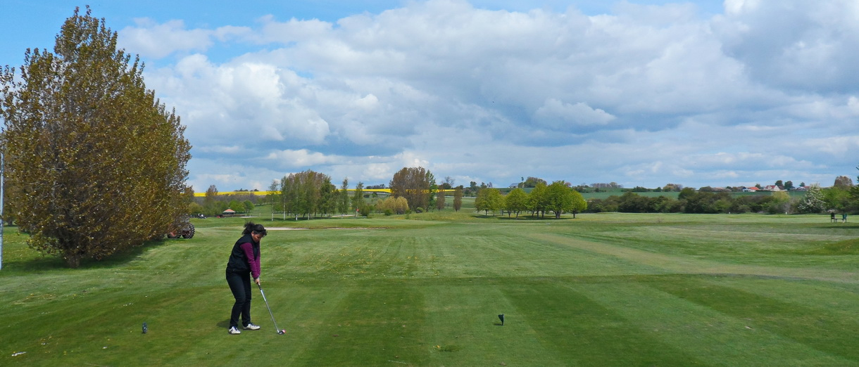 Golf i Skåne - Landskrona Golfklubb - Utslag från Hildesborg 2:a tee