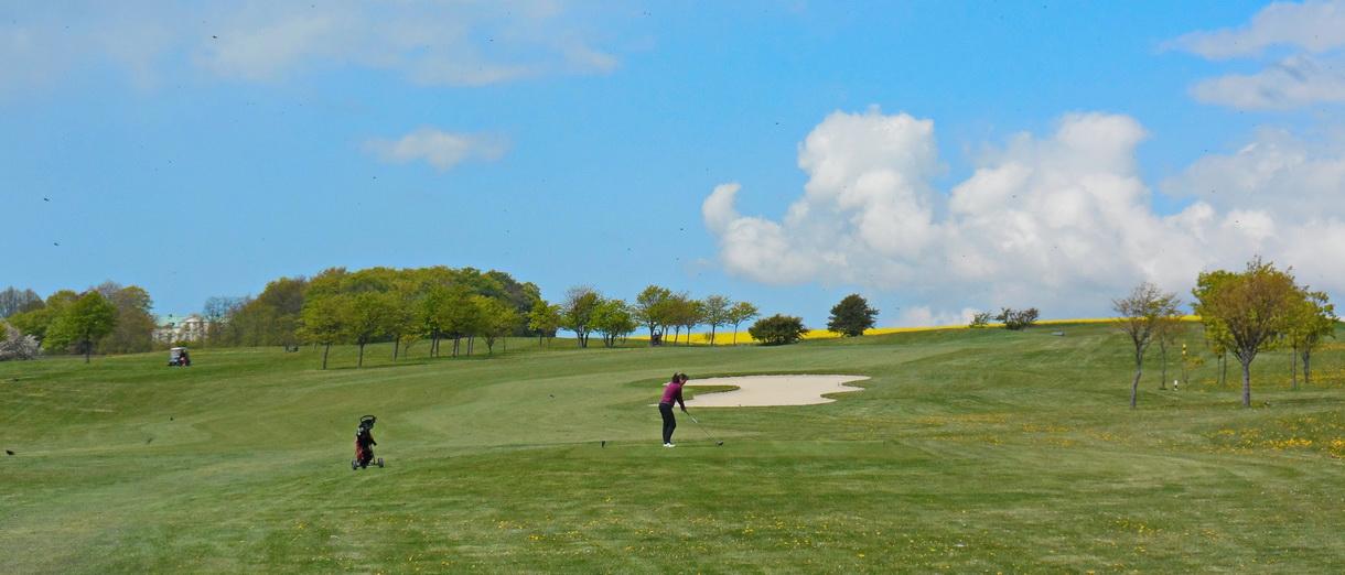 Golf i Skåne - Landskrona Golfklubb - Utslag från Hildesborg 9:e dam tee